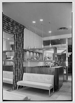 Sutton Shoes, business at 96-33 Queens Blvd., Rego Park, Long Island, New York. Cashier's desk