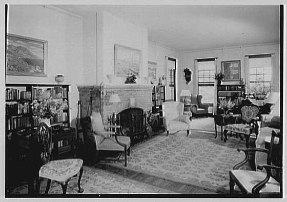 Mrs. Mortimer J. Fox, Foxden, residence in Peekskill, New York. Living room