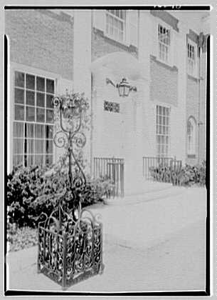 Roy D. Chapin, residence at 447 Lake Shore, Grosse Pointe Farms, Michigan. Entrance facade, entrance detail, noon