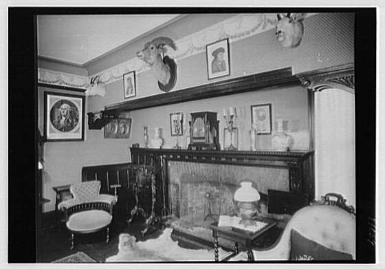 Sagamore Hill, residence of Theodore Roosevelt. Fireplace, in library