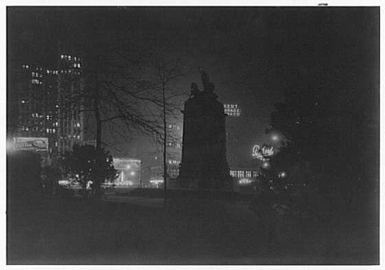 New York city views, Columbus Circle, New York City. Maine Monument, silhouetted, from inside of park