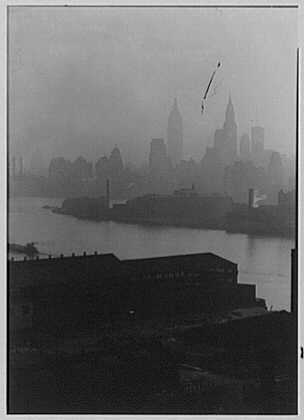 New York city views. Midtown through mist, from Queensboro Bridge