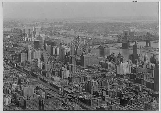New York city views, from Chrysler Building. Looking northeast