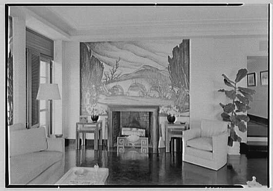 Robert T. Swaine, residence in Milton, Connecticut. Sun room wing, to fireplace