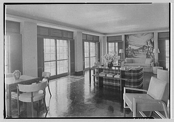 Robert T. Swaine, residence in Milton, Connecticut. Sun room, view to terrace