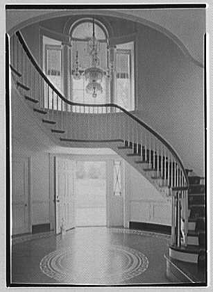 Robert T. Swaine, residence in Milton, Connecticut. Entrance hall and staircase
