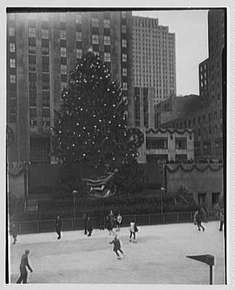 Rockefeller Center. Christmas tree and skaters, from center