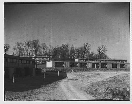 Aluminum City Terrace, New Kensington, Pennsylvania. Houses on hill from administration building