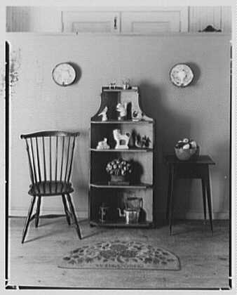 Mrs. Lawrence J. Ullman, business on Prospect Ave., Tarrytown, New York. Corner cabinet and chair