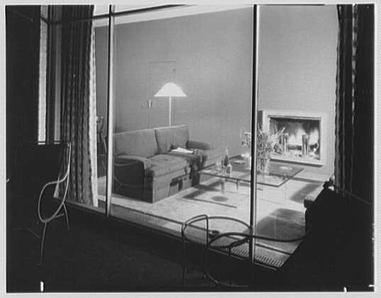 Robert Carson, residence on E. 79th St., New York City. Living room, to fireplace from terrace