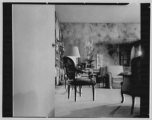 Patricia Murphy, apartment in Manhasset, Long Island, New York. Living room, from foyer