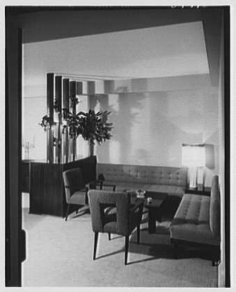 E. Glucker, residence at 11 Riverside Dr., New York City. Living room, to bridge corner