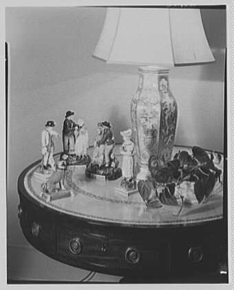 Ira Suval, residence in Lawrence, Long Island. Lamp and porcelain figures I