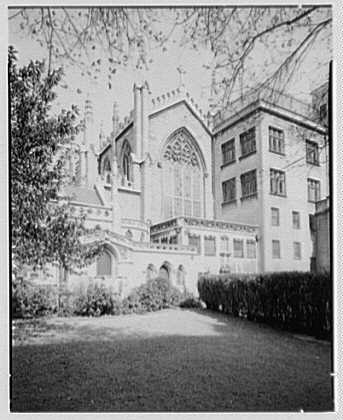 Grace Church, 9th and Broadway, New York City. South Garden vertical, to outdoor pulpit