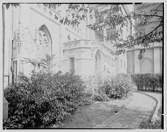Grace Church, 9th and Broadway, New York City. Path to outdoor pulpit