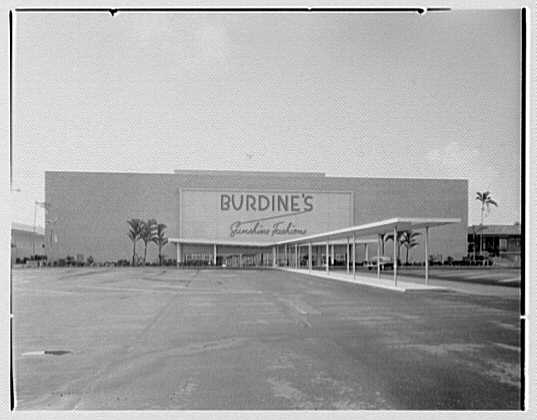Burdine's department store, business in 163rd St. Shopping Center, Miami, Florida. Rear of store II