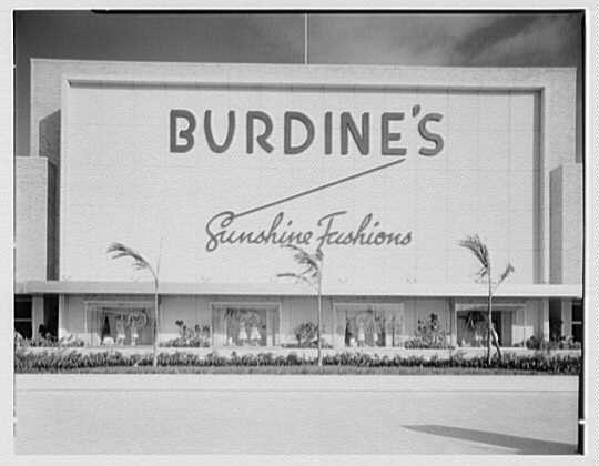 Burdine's department store, business in 163rd St. Shopping Center, Miami, Florida. Head-on front facade