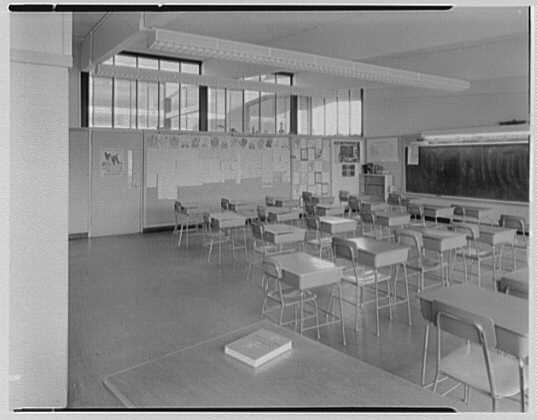 John J. Shaugnessy School, Lowell, Massachusetts. Empty classroom