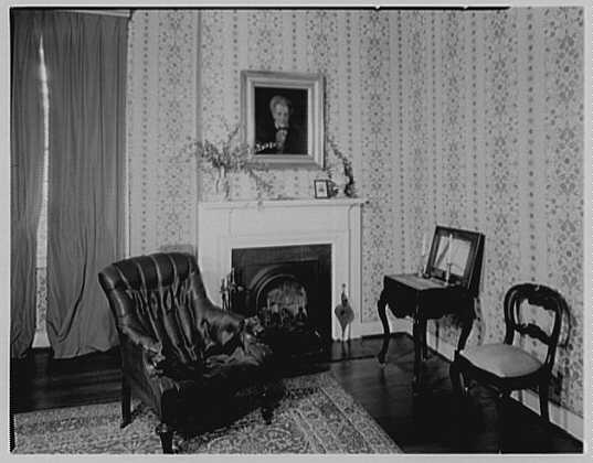 President James K. Polk, residence in Columbia, Tennessee. Fireplace with portrait of Jackson