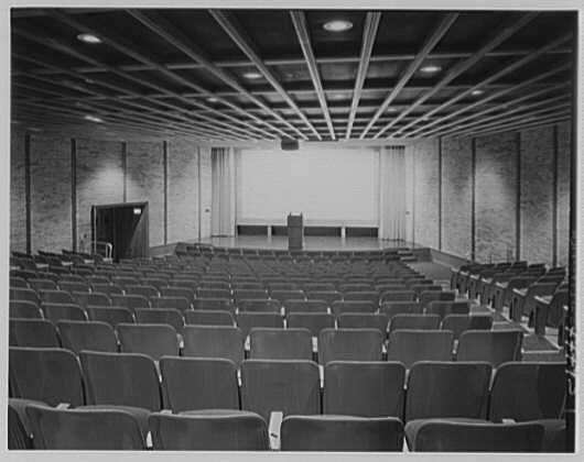 Wright Hall, Smith College, Northampton, Massachusetts. Auditorium with screen exposed