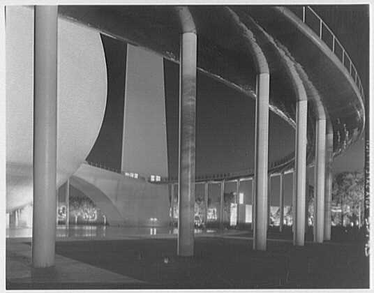 World's Fair night views. Perisphere and ramp II
