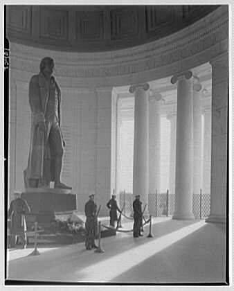 Jefferson Memorial, Washington, D.C. Statue from left, sunlighted