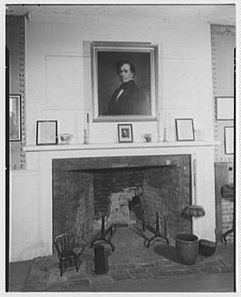 Pierce homestead, Hillsboro, New Hampshire. Fireplace in sitting room (G.P. Healy portrait)