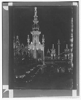 Luna Park, Coney Island. Night, side tower