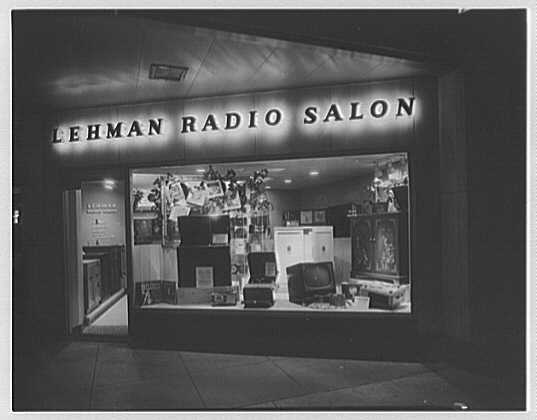 Lehman Radio Salon, business at 60th St. and Madison Ave. Exterior at night
