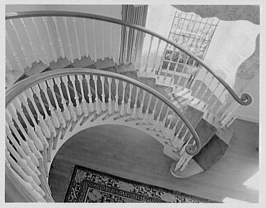H.D. Sheldon, residence in New Vernon, New Jersey. Oblique down view of staircase
