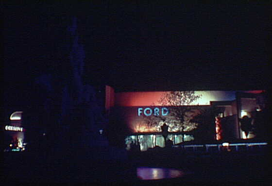 World's Fair. Ford Motor Company Building sign at night
