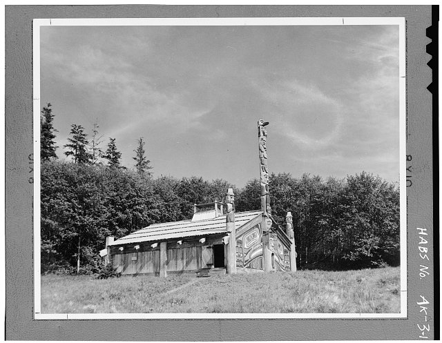 1.  WEST SIDE AND FRONT 4x5' neg. - Totem Bight Community House, Mud Bight Village, North Tongass Highway, Ketchikan, Ketchikan Gateway Borough, AK