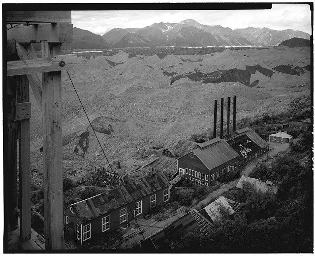6.  MACHINE SHOP AND POWER PLANT, LOOKING NORTHWEST - Kennecott Copper Corporation, On Copper River & Northwestern Railroad, Kennicott, Valdez-Cordova Census Area, AK