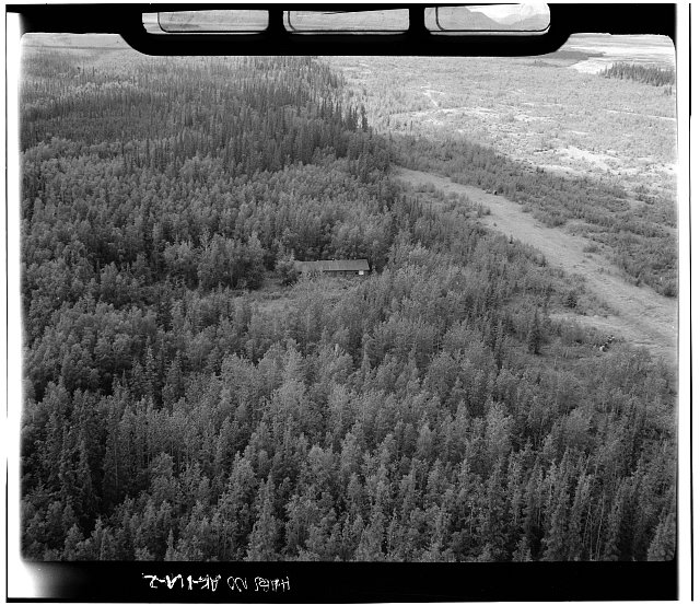 2.  Aerial view looking south - Valdez-Fairbanks Trail Roadhouses, Sullivan Roadhouse, Delta Junction, Southeast Fairbanks Census Area, AK