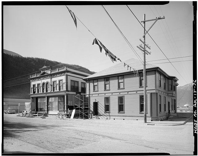 36.  WHITE PASS AND YUKON RAILROAD DEPOT (1898) AND ADMINISTRATION BUILDING (1900), LEFT, SECOND AVENUE AND BROADWAY AVENUE - City of Skagway, Skagway, Skagway, AK