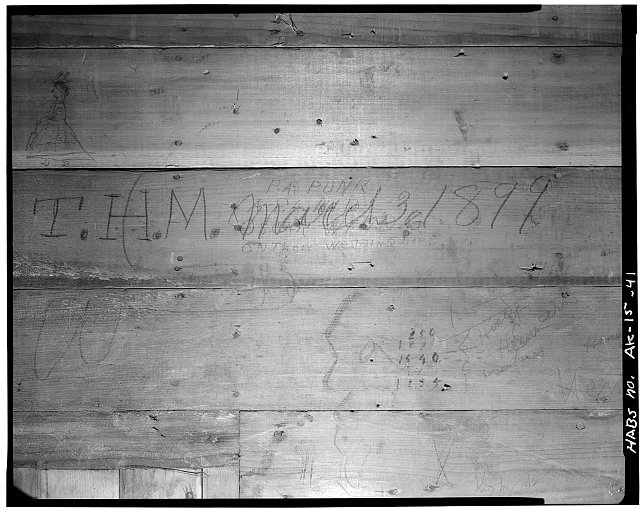 41.  WHITE PASS AND YUKON RAILROAD DEPOT, STAIRWAY WALL GRAFITTI - City of Skagway, Skagway, Skagway-Hoonah-Angoon Census Area, AK