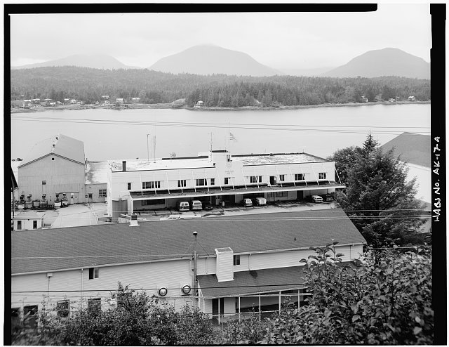 4.  FRONT VIEW OF HEADQUARTERS BUILDING, TAKEN FROM HILL ABOVE THE ROAD. - U. S. Coast Guard Headquarters Building, Ketchikan, Ketchikan Gateway Borough, AK