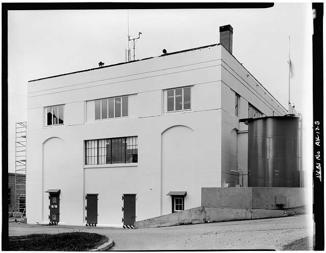 8.  SOUTHEAST CORNER, SHOWING STORAGE TANK IN FRONT OF THE BUILDING. - U. S. Coast Guard Headquarters Building, Ketchikan, Ketchikan Gateway Borough, AK
