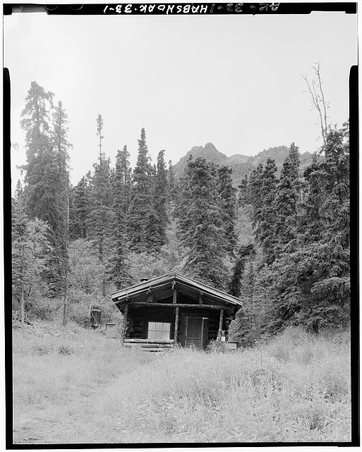 1.  FRONT OF CABIN, LOOKING WEST (4' x 5' negative) - Pearson Cabin, near Toklat River, Cantwell, Denali Borough, AK
