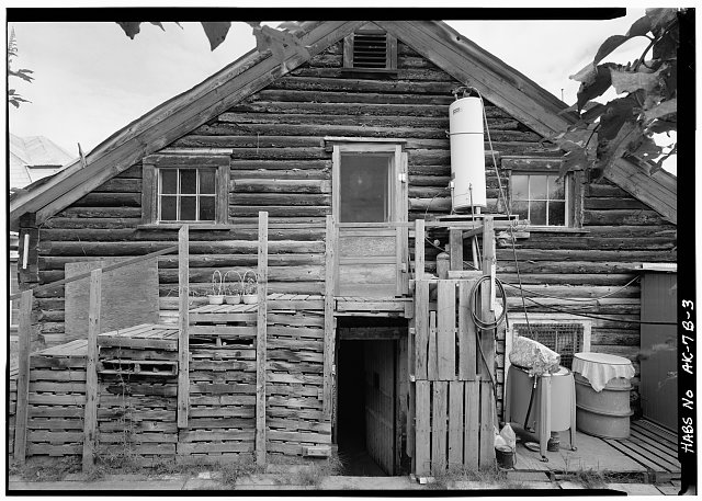 3.  REAR SHOWING JESSE KNIGHT STAIRWAY TO LIVING QUARTERS MADE OUT OF STORAGE PALETTES - Northern Commercial Company, Store, 220 Front Street, Eagle, Southeast Fairbanks Census Area, AK