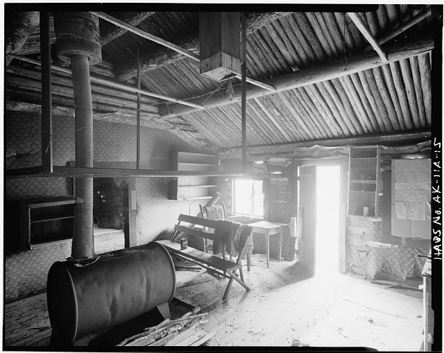 4.  INTERIOR, SHOWING MUSEUM COUNTER - Custom House, Front Street (Moved from Fort Egbert), Eagle, Southeast Fairbanks Census Area, AK