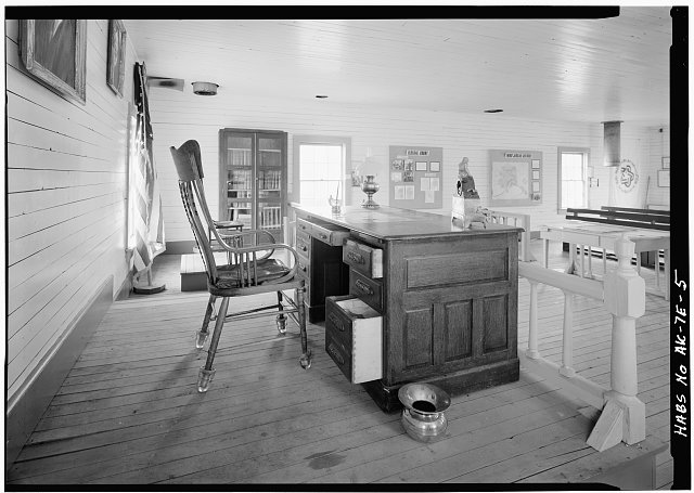 5.  DETAIL OF DESK AND CHAIR THAT SERVE AS THE JUDGE'S BENCH - Courthouse, First Avenue, Eagle, Southeast Fairbanks Census Area, AK