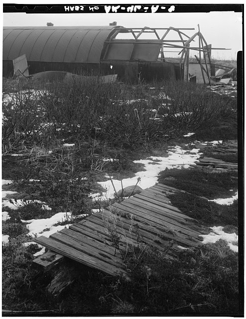 8.  DETAIL OF QUONSET HUT SHOWING BOARDWALK ON TUNDRA CONNECTING QUONSET HUTS THAT DID NOT HAVE INTERCONNNECTING WOOD FRAME CORRIDORS - Fort Randall, Neuro-Psychiatric Ward, Northeast of intersection of California Boulevard & Nurse Drive, Cold Bay, Aleutian Islands, AK