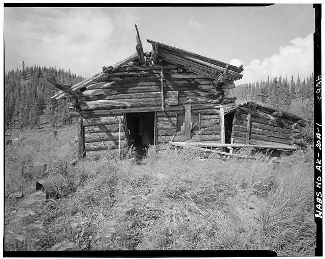 1.  FRONT, LOOKING WEST - Charlie Yale Main Cabin, Glacier River near Nolan, Bettles, Yukon-Koyukuk Census Area, AK