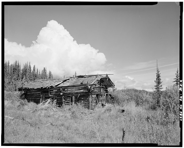 2.  SIDE, LOOKING NORTHWEST - Charlie Yale Main Cabin, Glacier River near Nolan, Bettles, Yukon-Koyukuk Census Area, AK