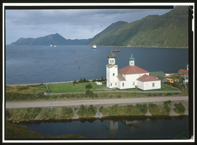 NORTHWEST FRONT AND SOUTHWEST SIDE, FROM ABOVE - Holy Ascension Russian Orthodox Church, Unalaska Island, Unalaska, Aleutian Islands, AK