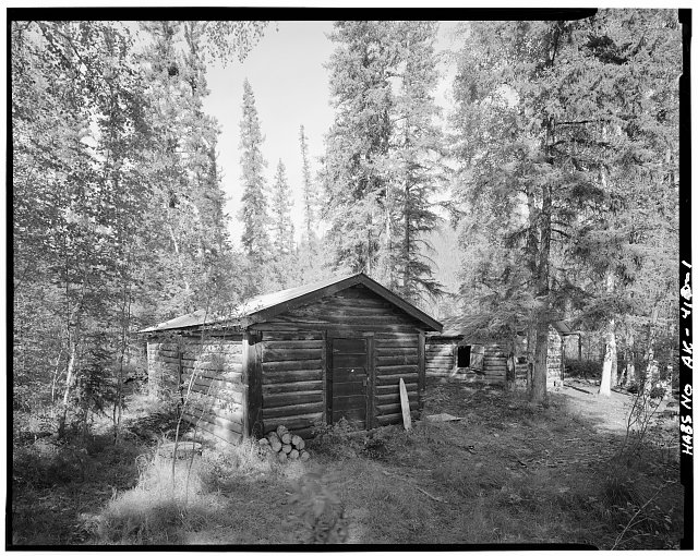 1.  WEST SIDE AND SOUTH FRONT, SHED IN BACKGROUND - James Taylor Shop, Yukon River, Opposite Fourth of July Creek, Eagle, Southeast Fairbanks Census Area, AK
