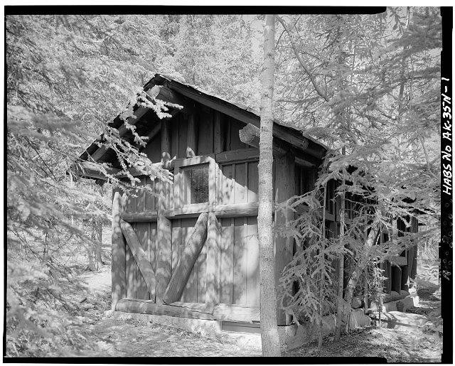 1.  FRONT CORNER, LOOKING NORTHWEST - Mount McKinley Headquarters, Comfort Station, Cantwell, Denali Borough, AK