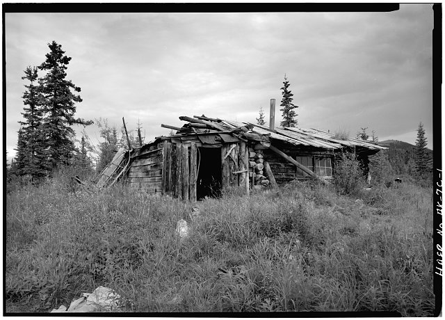 1.  FRONT CORNER, LOOKING NORTHEAST, (NOTE ANIMAL SKELETON ON ROOF) - A. D. Wilcox Drift Mine, Residential Cabin, Linda Creek near Dalton Highway, Bettles, Yukon-Koyukuk Census Area, AK