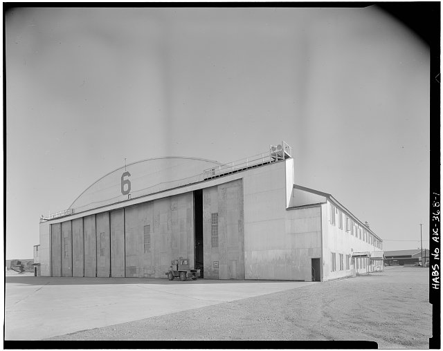1.  VIEW OF EAST DOORS AND NORTH LEAN TO - Ladd Field, Birchwood Hangar, Fort Wainwright, Fairbanks, Fairbanks North Star Borough, AK
